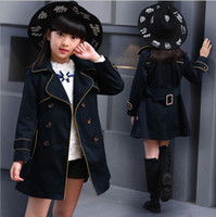 Wholesale New Girls Jacket Children s Clothing Big Kids Spring Autumn Child Medium long Double Breasted Baby Outerwear Girl Trench Coat