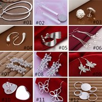 Wholesale Mix Style Silver Plated Jewelry Charming Women girls Dangle Earrings Pairs Multi Choices Earrings Mix Order Best Gift