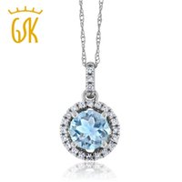 aquamarine diamond pendant - Ct Round Sky Blue Aquamarine H I Diamond K White Gold Pendant