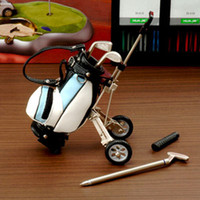 miniature golf - Original Golf Pens with Golf Bag Holder Desktop Golf Bag Trolley Pens Holder Miniature golf caddy with metal pens and bag holder