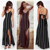 Wholesale 2016 Sexy Women Summer Style Dress V neck Long Maxi Party Black Stripe Party Dress Backless Spaghetti Strap Dress vestido Q021