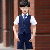 Wholesale 4 Shirt Pants Tie Vest Spring Summer Boys Wedding Suit Boys Clothes Boys Suits for Weddings Royal Blue
