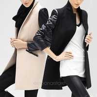 Cheap 2016 Woman Woolen Coats Winter New Suit Collar Long PU Leather Overcoat Fashion Tailored Collar Joint Slim Coat S-XL XE3216