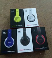 Wholesale P47 Bluetooth Headphone Wireless Headband Earphone Hands Free Music Headset With MF TF for Apple Samsung HTC LG Mobile Phone