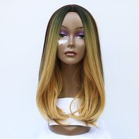 Cheap New Medium Length Hair Wig Synthetic Heat Resistant Brown Mix Honey Blonde Color Natural Straight Hair Fashion Party Cosplay Wig