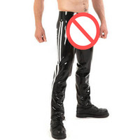 Wholesale Men Natural Latex Pants Fashion Open Crotch Trousers Sexy Tight Pants Clubwear Bodywear Exotic Apparel for Man S XL YV0051