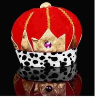 Wholesale New Fashion piece Halloween Red Gorras Snapback Crystal Crown Hat for the Women Carnival Hats Men King Hats Winter Cap Christmas Gift
