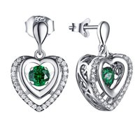 aquamarine diamonds - Factory Price Huge Aquamarine Sterling Silver Crystal Heart Earring with Dancing Diamond CZ Earrings Women Wedding Jewelry DE65410