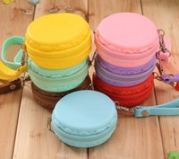 Wholesale Silicone Coin Purse Macaron shape wristlets Waterproof Change Purse silicone Pouch Wallet Zipper Model No bag04