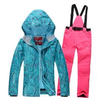 Wholesale Skiing Climbing Women Pant And Jacket Suit Winter Waterproof Sport Snow Jacket Women Snowboard good quality