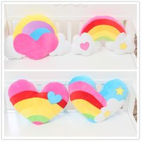 Wholesale Cartoon Heart Pillow - New arrived cartoon love rainbow clouds heart-shaped couples plush cushions pillow Valentine's day gifts Free gift