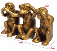brass statue - to world Collectibles Brass See Speak Hear No Evil Monkey Small Statues Furnishing articles play gift amulet
