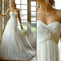 Wholesale In Stock Vestido De Novia US Size White Ivory Chiffon Applique Beading Lace Beach Wedding Dress