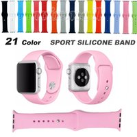 Wholesale 1 Original Design Color Sport Silicone Band Replacement Strap with Connector Adapter For Apple Watch mm mm