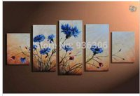 Wholesale Hand Painted Abstract Oil Painting On Canvas Landscape For Living Room Modern Paintings Group Of Pictures Home Decor Blue Flower