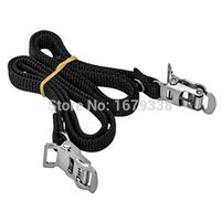 Wholesale Pair Mountain Bike Pedal Replacement Cycle Toe Straps Black Nylon Security Strong And Flexible Black order lt no track