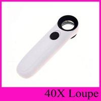2 LED de múltiples funciones del dispositivo de retención de la joyería luz LED de la lupa 40X 21mm Lupa Identificar lupa microscopio lupas