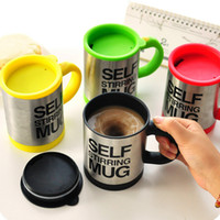 Wholesale Lazy Self Stirring Mug Automatic Electric Coffee Tea Mixing Cup With Lid Stainless Steel ml Creative Drinkware