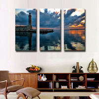 arts hubs - LK3235 Panels Oil Painting Lighthouse Build In The Sea Wall Art Modern Pictures Print On Canvas Paintings For Home Bar Hub Hotel Restaura