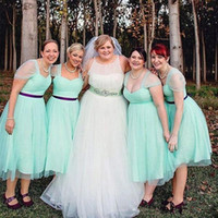 Wholesale Newest Short Bridesmaids Dresses Tea Length A Line Sash Party Gowns Cheap B004 Custom Made Fashion Sweetheart Mint Green Sheer