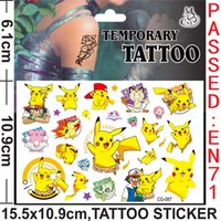 Wholesale Poke Mon Pokémon go Tattoo stickers Children Cartoon Pikachu Charmander Jeni turtle Tattoo Stickers x10 cm B001
