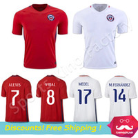 Wholesale Chile jersey CONMEBOL Chile home red soccer jersey ALEXIS SANCHEZ VIDAL Custom name VARGAS SUAZO MEDEL VALDIVIA Top