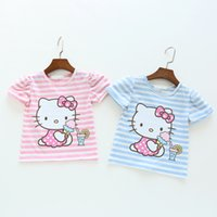 Wholesale 2016 Baby Girls Cartoon Hello Kitty T shirt Children Short Sleeve T shirt Kids Cotton Summer Pink Clothes