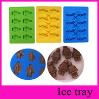 Wholesale LEGO robot man Aberdeen ice trays ice mold ice cube lattice silicone ice trays ice cream makers Silicone Candy Molds chocolate Mold