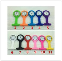 Wholesale Hot Selling Silicone Nurses Brooch Tunic Fob Medical Nurse Watch Free Battery Cute Patterns Fob Quartz Doctor Watch Pocket Colours