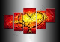 One Panel Oil Painting Classical Tree Oil Painting 5pcs Red Love Heart On Canvas High Quality Modern Wall Picture For Living Room Abstract Home Decoration Sale