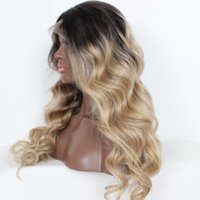 Cheap Top Quality Two Tone 1b 27 Blonde Brazilian Full Lace Human Hair Wig Ombre Lace Front Wigs Glueless Wavy For White Black Women