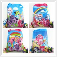 animal party bags - My Little Pony Kids Cartoon Drawstring Backpack School Bags Kids Handbags inch Mixed Models Non Woven Fabrics Kids Party Gift