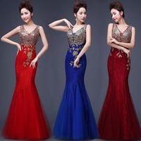 Wholesale 2016 Sexy V Neck Long Evening Dress Appliques Mermaid Floor Length Bridesmaid Dress Party Prom Dresses XA0250