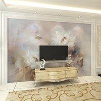 Wholesale Custom Mural Wall Paper European White Lotus Oil Painting Large Murals Living Room Bedroom TV Backdrop Non woven Wallpaper