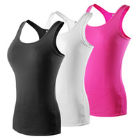 Wholesale 2016 New Women Quick Dry Sleeveless Shirts Fitness Exercise Training Athletic Vest Running Workout Sports Yoga Tank Tops Gym tank tops