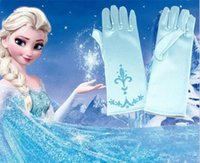 Wholesale 2016 New full finger gloves frozen elsa gloves kids gloves costume Long Blue gloves snow Queen Elsa Cartoon Party Christmas Halloween gift