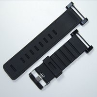 Para mayor-Suunto Core correa de reloj 24MM Negro de goma suave de silicona + inoxidable de la hebilla + PVD adaptadores + Screwbars