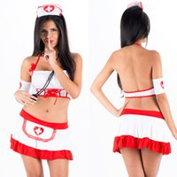 adult nurse costume - New Pieces Women Sexy Nurse Uniform Halter Lingerie Bra Mini Skirt with Headwear Adult Halloween Cosplay Nurse Costume W2928