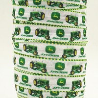 accessories for tractor - ribbon OEM inch mm John tractor design print grosgrain ribbon for hair bows or hair accessory