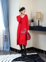 bell jumpers - pullover sweater dress new fashion autumn V neck Vintage dresses long bell sleeve embroidery red jumper oversize sweaters casual warm