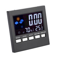Wholesale Multi functional Digital Colorful LCD Thermometer Hygrometer Clock Alarm Snooze Function Calendar Weather Forecast Display E1692