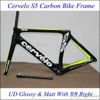 Cheap Cervelo S5 VWD Full Carbon Bike Frame Black Fluo Green Bicycle Frames UD Weave With BB Right Bicycle Frameset Lightweight Bike Parts