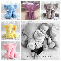 Wholesale 5 color Fashion Elephant Pillow Baby Doll Children Sleep Pillow Birthday Gift INS Lumbar Pillow Long Nose Elephant Doll Soft Plush M119