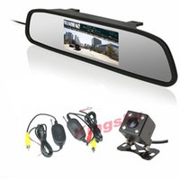 Wholesale 4 LED Night Vision Backup Reversing Parking Camera degree Wide Angle quot LCD Mirror Monitor Auto Car Rear View Kit