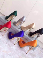 Wholesale Women shoes fasion item high end wear silk on vamp sheepskin inside genuine leather tread heel high cm seven colour to choose
