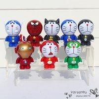 batman collectables - 8pcs set Doraemon Cosplay Batman Iron Man Captain America Hulk Spider Man PVC Figure Toys Collectable Model Dolls Gifts