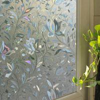 Wholesale 2016 New Tulip Flower D Static Cling decorative Privacy etched Glass Window Film Vinyl x100cm