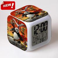 antique panda - Kung fu panda Alarm Clock Led Light Color Change Cool Gadgets Desk Accessories Desk Vintage Table Square Watch Thermometer