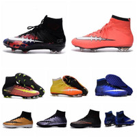Wholesale 2016 New Children soccer cleats Kids Boys Mercurial Superfly CR7 FG Football Boots Fiber Mens High Ankle Soccer Shoes women Girls size