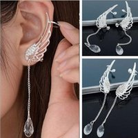 Wholesale European Fashion Metal Jewelry Silver Tassel Water Drop Wing No Hole Clip Stud Earrings Female
